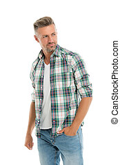 Menswear and fashionable clothing. Man looks handsome in casual style. Guy with bristle wear casual outfit. Handsome man posing model. Masculinity concept. Daily outfit. Man model clothes shop