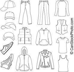 menswear, esboçado, headgear, sapatos, &