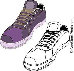 menswear, estação, headgear, sapatos, &