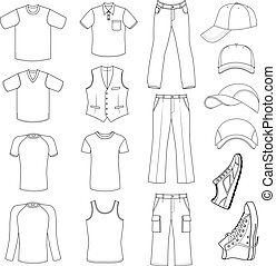 Menswear, headgear & shoes - Outlined menswear, headgear &...