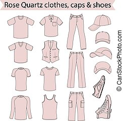 Menswear, headgear & shoes rose quartz color season...