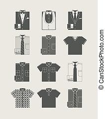 Menswear. Icon set. Vector illustration