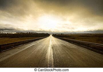 mentén, egy, autóút