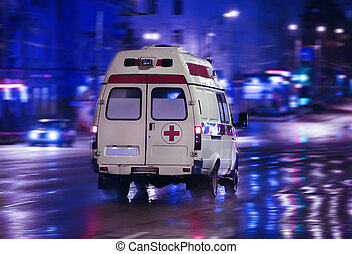 mentőautó, őt jár, képben látható, éjszaka, város