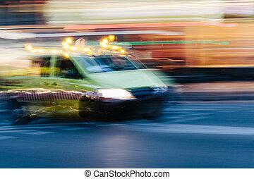 mentőautó, autó, alatt, egy, életlen, város táj