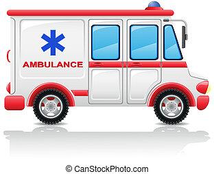 mentőautó, autó, vektor, ábra