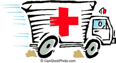 mentőautó, furgon, autó, vektor