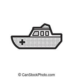 mentőautó, halad hajózik, ikon