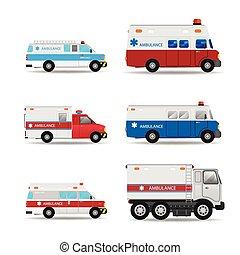 mentőautó, vektor, autó