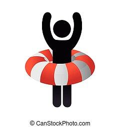 mentőbólya, narancs, úszó