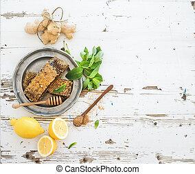 menta, de madera, té, set., cocina, jengibre, rústico, fondo., panales, limón, herbario, fresco, tapa blanca, vista