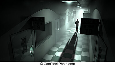 A ghostly figure casts a long shadow down the middle of a dimly lit passage of a dilapidated mental asylum