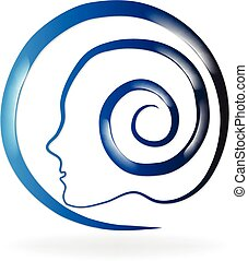 Mental blue health logo - Healthy natural head brain logo...
