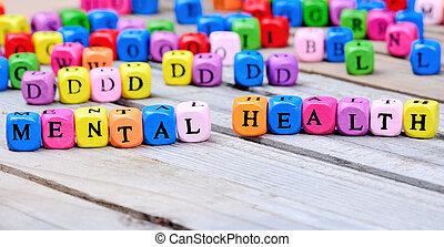 mental, bois, mots, santé, table