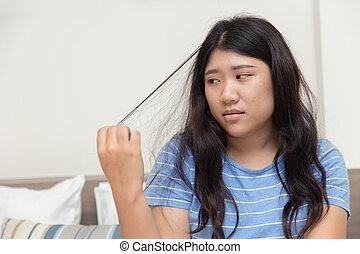 mental, cabelo, problem., trichotillomania, puxando, adolescente, saúde, desordem, ou, mulheres