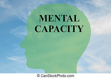 Render illustration of 'MENTAL CAPACITY' script on head silhouette, with cloudy sky as a background.