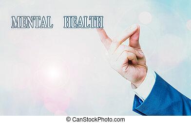 mental, demonstrating., mostrando, escrita, psicológico, health., foto, negócio, nota, nível, wellbeing, showcasing, ou, estado