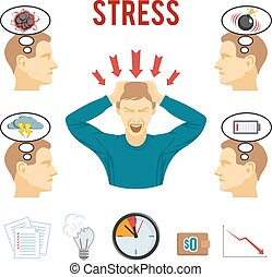 Mental disorder and stress icons set - Mental health...