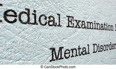 Mental disorder medical report