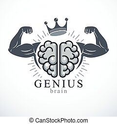mental, driva, emblem, health., stark, hjärna, geni, ...