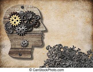 mental, e, verbal, atividade, modelo cérebro, conceito