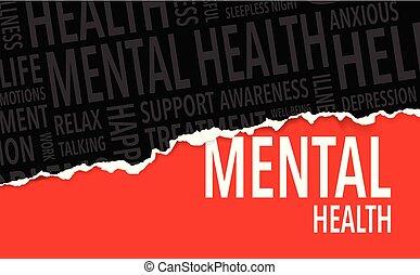 mental, fundo, palavras, saúde