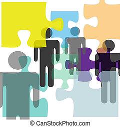 mental, gente, confusión, rompecabezas, solución, salud,...
