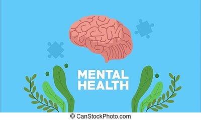 mental health animation with brain and leafs