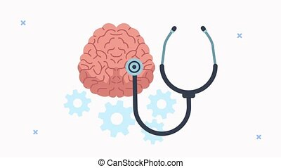 mental health animation with brain and stethoscope