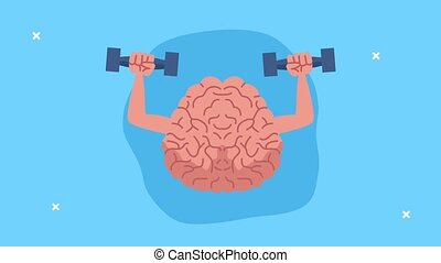 mental health animation with brain lifting dumbbells