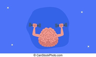mental health animation with brain lifting dumbbells and bulb ,4k video animated