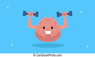 mental health animation with brain lifting dumbbells character