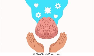 mental health animation with hands lifting brain and hearts ,4k video animated