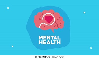 mental health animation with heart in brain