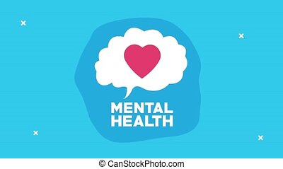 mental health animation with lettering and heart in speech bubble ,4k video animated