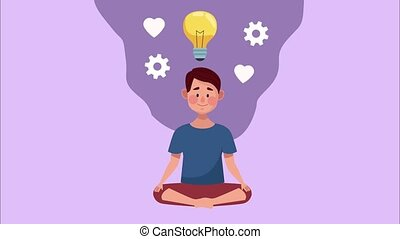 mental health animation with man in lotus position and bulb ,4k video animated