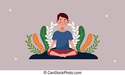mental health animation with man in lotus position and leafs ,4k video animated