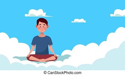 mental health animation with man in lotus position in clouds ,4k video animated