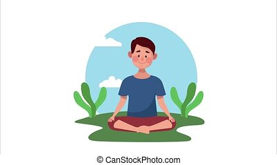 mental health animation with man in lotus position in the camp ,4k video animated