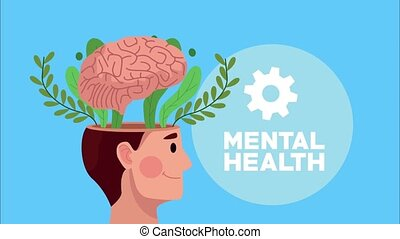 mental health animation with profile human and brain in gear