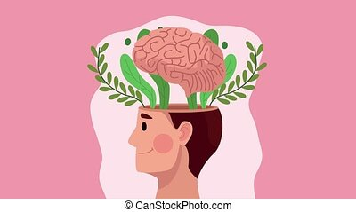 mental health animation with profile human and brain in leafs
