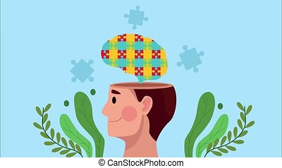 mental health animation with profile human and brain puzzle ,4k video animated