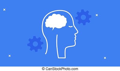 mental health animation with profile silhouette and brain in blue background ,4k video animated