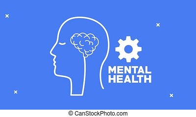 mental health animation with profile silhouette and brain
