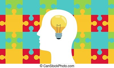 mental health animation with profile silhouette and bulb in puzzles background