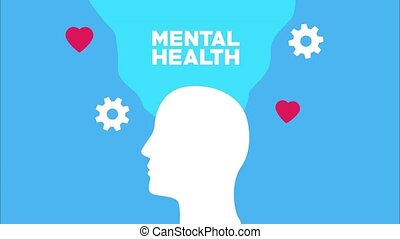 mental health animation with profile silhouette and flow of hearts and gears ,4k video animated