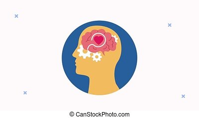 mental health animation with profile silhouette and gears brain ,4k video animated