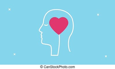 mental health animation with profile silhouette and heart