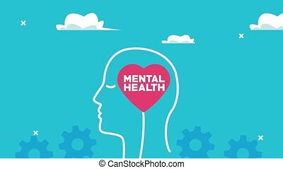 mental health animation with profile silhouette and lettering in heart ,4k video animated