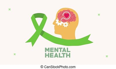 mental health animation with profile silhouette and ribbon campaign ,4k video animated